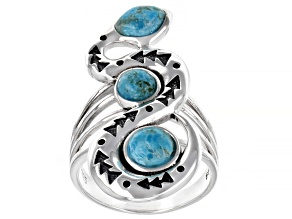 Blue Turquoise Rhodium Over Silver 3-Stone Snake Ring