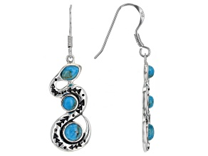Blue Turquoise Rhodium Over Silver 3-Stone Snake Earrings