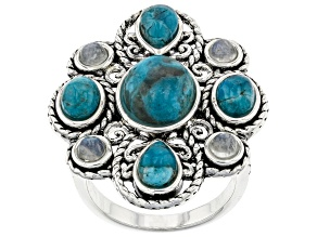 Turquoise and Rainbow Moonstone Rhodium Ober Silver Ring