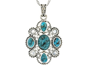 """Turquoise and Rainbow Moonstone Rhodium Over Silver Pendant with 18"""" Chain"""