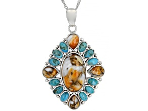 Turquoise and Spiny Oyster Shell Rhodium Over Silver Pendant with Chain