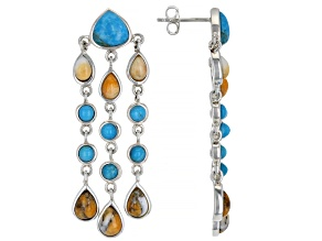 Turquoise and Spiny Oyster Shell Rhodium Over Silver Earrings