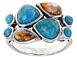 Turquoise and Spiny Oyster Shell Rhodium Over Silver Ring