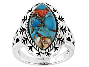 Blended Turquoise and Spiny Oyster Shell Rhodium Over Silver Ring