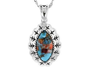 lended Turquoise and Oyster Shell Rhodium Over Silver Enhancer with Chain
