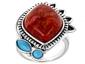 Red Coral and Sleeping Beauty Turquoise Rhodium Over Sterling Silver Ring