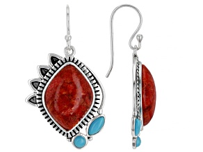 Red Coral and Turquoise Rhodium Over Sterling Silver Earrings