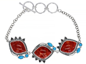 Red Coral and Sleeping Beauty Turquoise Rhodium Over Sterling Silver Station Bracelet