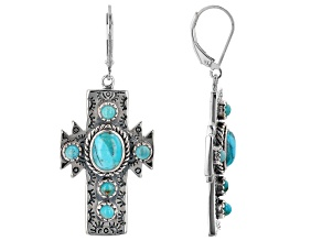 Turquoise Rhodium Over Sterling Silver Cross Earrings