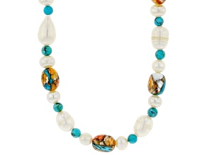 Turquoise, Cultured Freshwater Pearl, and Spiny Oyster Shell Rhodium Over Silver Necklace