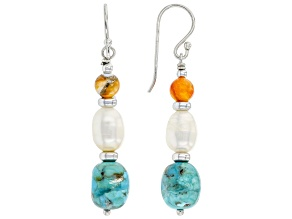 Turquoise, Cultured Freshwater Pearl, and Spiny Oyster Shell Rhodium Over Silver Earrings