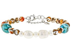 Turquoise, Cultured Freshwater Pearl, and Spiny Oyster Shell Rhodium Over Silver Bracelet