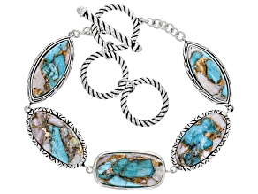 Blended Turquoise And Pink Opal Rhodium Over Sterling Silver Bracelet.