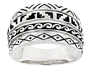 Rhodium Over Sterling Silver Southwestern Band Ring