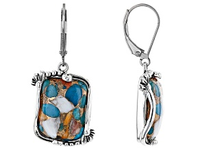 Blended Turquoise and Spiny Oyster Shell Rhodium Over Silver Earrings