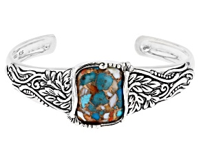 Blended Turquoise and Spiny Oyster Shell Rhodium Over Silver Cuff Bracelet