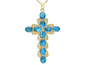 Blue Turquoise 18k Yellow Gold Over Sterling Silver Cross Pendant with Chain