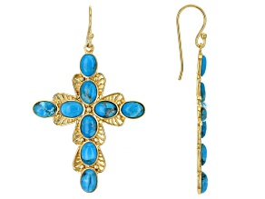 Blue Turquoise 18k Yellow Gold Over Sterling Silver Cross Earrings