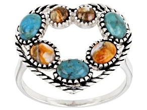 Turquoise & Spiny Oyster Shell. Rhodium Over Silver Ring