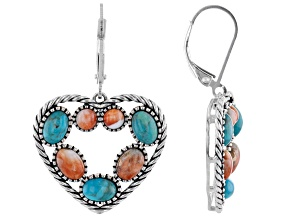 Turquoise Rhodium Over Silver Heart Shaped Earrings