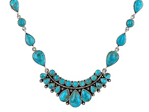 """Blue Turquoise Rhodium Over Silver 18"""" Necklace"""