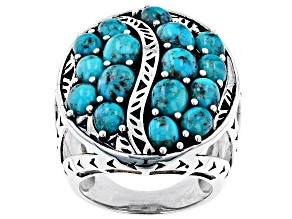 Oval Turquoise Rhodium Over Sterling Silver Multi -Row Ring