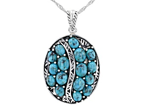 Blue Turquoise Rhodium Over Sterling Silver Pendant with 18' Chain
