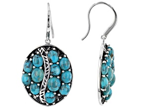 Turquoise Rhodium Over Sterling Silver Multi Row Earrings