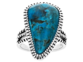 Blue Fancy Shape Turquoise Rhodium Over Sterling Silver Ring