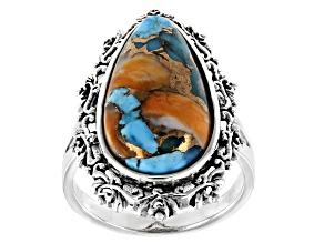 Blended Turquoise with Spiny Oyster Shell Rhodium Over Silver Ring