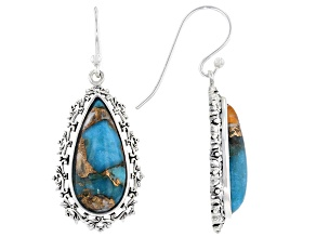 Blended Turquoise with Spiny Oyster Shell Rhodium Over Silver Dangle Earrings