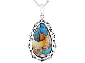 Blended Turquoise with Oyster Shell Rhodium Over Silver Pendant with Chain