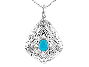 """Blue Turquoise Rhodium Over Sterling Silver Pendant with 18"""" Chain"""