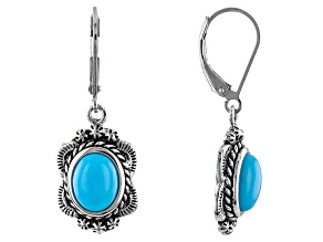 Sleeping Beauty Turquoise Rhodium Over Sterling Silver Floral Earrings