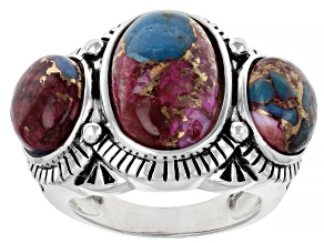Blended Turquoise and Purple Spiny Oyster Rhodium Over Silver 3-Stone Ring