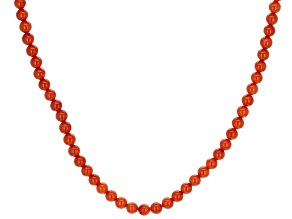 Red Coral Silver Single Strand Beaded Necklace