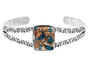 Blended Turquoise and Spiny Oyster Shell Rhodium Over Silver Cuff