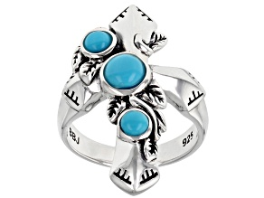 Round Sleeping Beauty Turquoise Rhodium Over Silver 3- Stone Ring