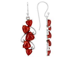 Red Sponge Coral Rhodium Over Sterling Silver Cluster Heart Earrings