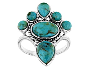 Blue Turquoise Rhodium Over Silver Cross Ring
