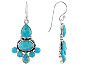 Blue Turquoise Rhodium Over Silver Cross Earrings