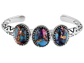 Blended Turquoise and Purple Spiny Oyster Rhodium Over Silver Bracelet