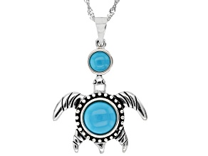 """Sleeping Beauty Turquoise Rhodium Over Silver Turtle Pendant with 18"""" Chain"""