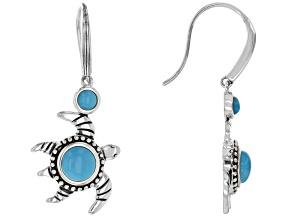 Blue Sleeping Beauty Turquoise Rhodium Over Silver Turtle Dangle 2-Stone Earrings