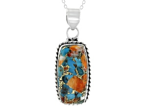Blended Spiny Oyster Shell & Turquoise Sterling Silver Pendant w Chain