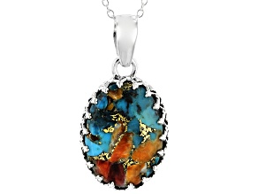 Blended Spiny Oyster Shell and Turquoise Sterling Silver Pendant with Chain