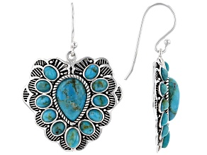 Turquoise Rhodium Over Sterling Silver Heart Earrings