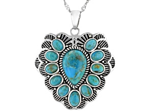 Blue Turquoise Rhodium Over Sterling Silver Heart Pendant with Chain