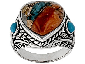Blended Spiny Oyster and Turquoise Rhodium Over Silver Ring