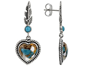 Spiny Oyster Shell and Turquoise Rhodium Over Silver Earrings